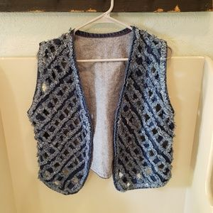 Vintage Denim Rag Open Weave Vest